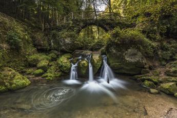 обоя природа, водопады, камни, поток, лес