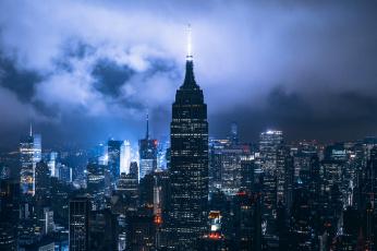 обоя города, нью-йорк , сша, ночь, город, нью, йорк, облака, огни