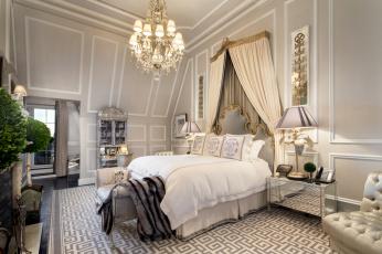 обоя интерьер, спальня, кровать, светильник
