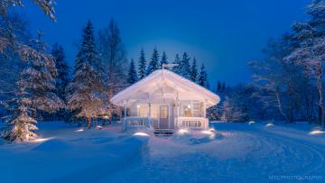 обоя города, - здания,  дома, дом, снег, лес