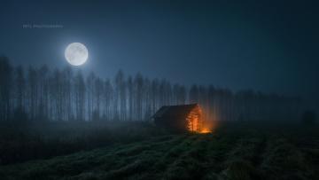 обоя города, - здания,  дома, ночь, лес, дом, луна