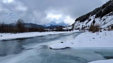 обоя природа, реки, озера, горы, снег, река