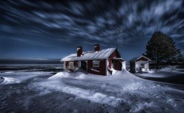 обоя города, - здания,  дома, снег, дом