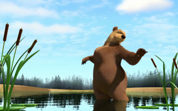 Картинка мультфильмы маша медведь камыши озеро