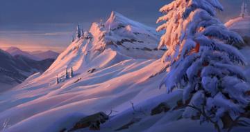 Картинка рисованное природа снег горы деревья