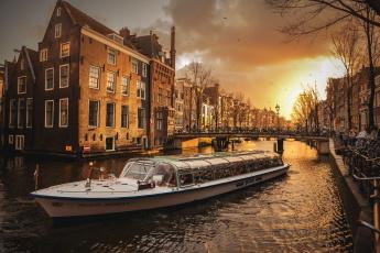 обоя amsterdam, корабли, теплоходы, канал