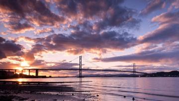 обоя города, - мосты, облака, река, небо, мост, закат