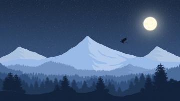 обоя векторная графика, природа , nature, снег, звёзды, небо, дракон, горы, пейзаж, луна
