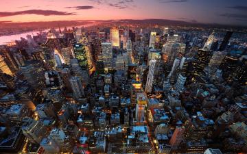 обоя города, нью-йорк , сша, new-york, city, empire, state, river, manhattan, sunset, building