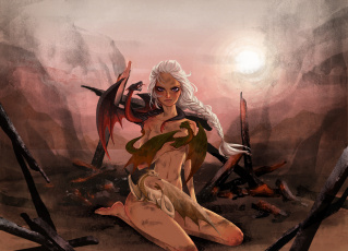обоя рисованное, кино, девушка, фон, взгляд, драконы
