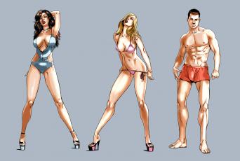 обоя рисованное, люди, мужчина, девушки, фон, взгляд, купальник