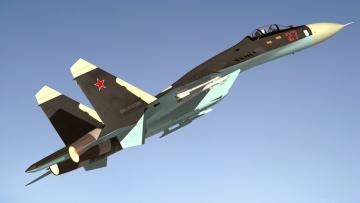 обоя авиация, 3д, рисованые, v-graphic, flanker, истребитель, полет, sukhoi, su, 27