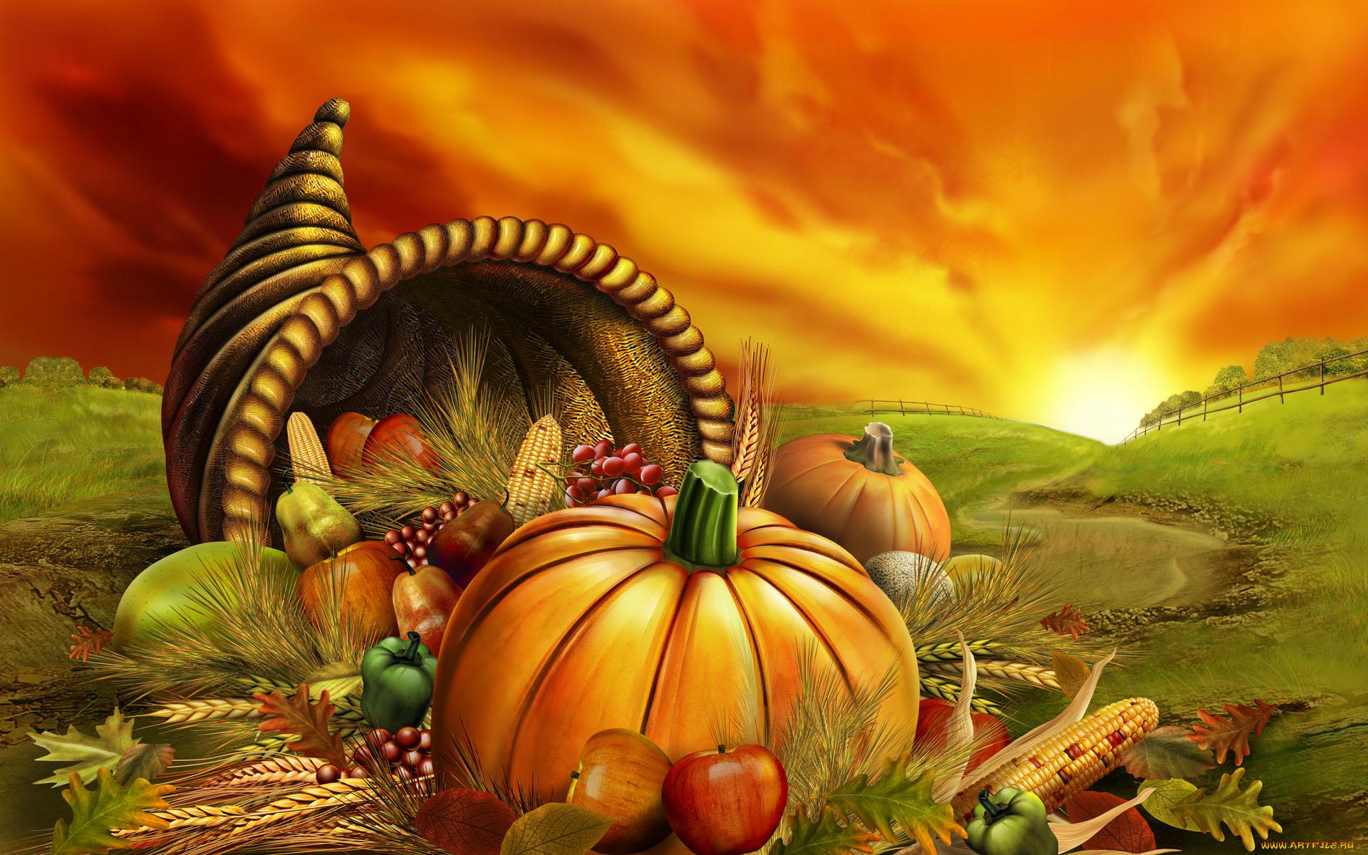 Днем, день благодарения открытка