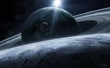 Картинка космос арт звезды кольца планеты спутник qaz2008