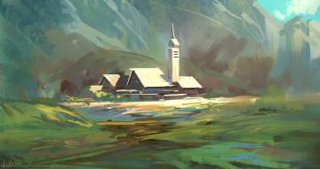 Картинка рисованное города пейзаж горы дома