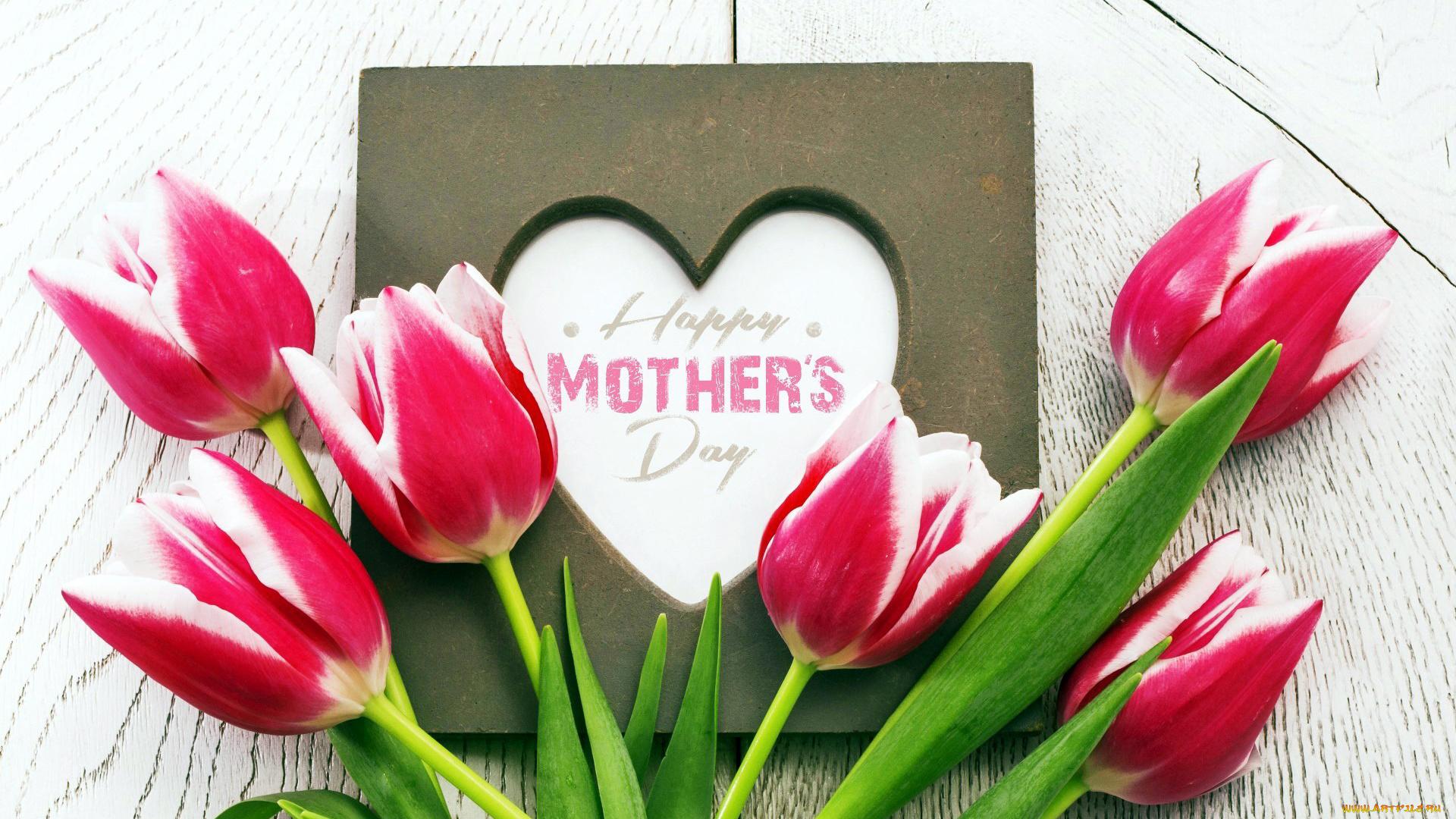 Открытка для мам тюльпаны