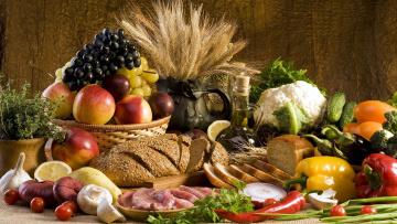 Картинка еда разное овощи хлеб ягоды фрукты мясо