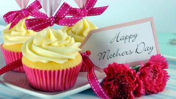 обоя праздничные, день матери, гвоздики, кексы, капкейки, пожелание, банты, надпись
