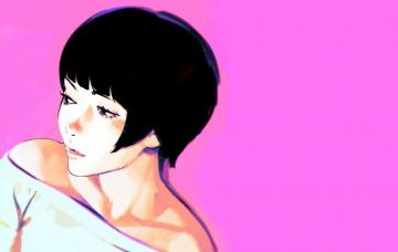 обоя рисованное, люди, стрижка, розовый, фон, брюнетка, плечи, декольте, лицо