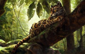обоя рисованное, животные,  ягуары,  леопарды, природа, леопард, дерево