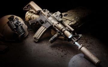 Картинка оружие автоматы ar-15 штурмовая винтовка assault rifle автомат капли каска бронежилет глушитель фонарик
