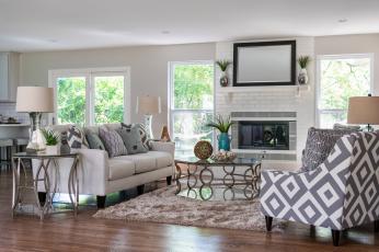 обоя интерьер, гостиная, декор, дизайн, диван, камин