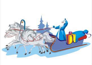 обоя праздничные, векторная графика , новый год, дед, мороз, снег, санки, лошади