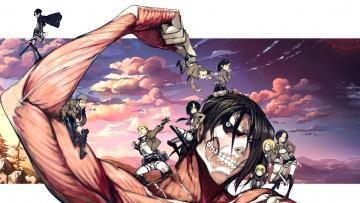обоя аниме, shingeki no kyojin, атака, титанов