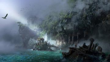 обоя фэнтези, пейзажи, фентези, город, море, арт, ling, xiang, берег, скалы
