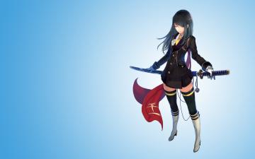 обоя аниме, оружие,  техника,  технологии, фон, взгляд, девушка