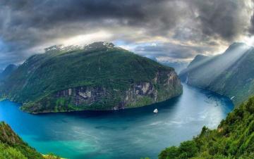 обоя природа, побережье, фьорд, норвегия, река, панорама