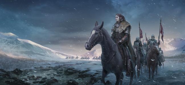Обои картинки фото фэнтези, люди, фон, девушка, конь, отряд, гора