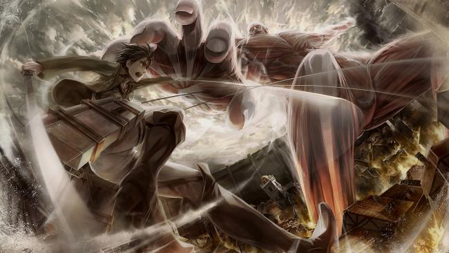 Обои картинки фото аниме, shingeki no kyojin, атака, титанов