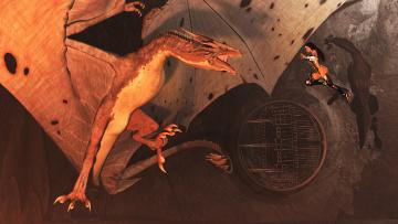 Картинка 3д+графика фантазия+ fantasy дракон полет фон взгляд девушка