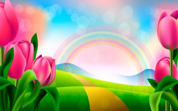 обоя векторная графика, цветы , flowers, радуга, тюльпаны, рисунок