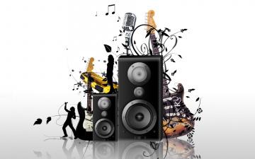 обоя векторная графика, техника , equipment, колонки, микрофон, гитары, певец, музыка, ноты, цветы, девушка