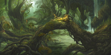 Картинка фэнтези существа kazamasa uchio ucchiey чаща лес вода дух драконы
