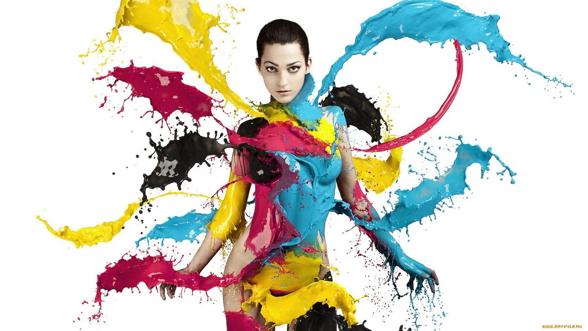девушка краски креатив кисточка бесплатно