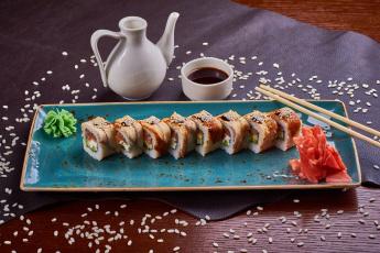 обоя еда, рыба,  морепродукты,  суши,  роллы, соус, суши, имбирь, роллы, кунжут