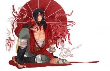 обоя аниме, dramatical murder, кимоно, dramatical, murder, драматическое, убийство, koujaku, art, красные, глаза, парень, белый, фон, honyarara, зонт, узор