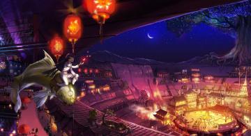 обоя аниме, животные,  существа, месяц, рыба, водопад, люди, город, ночь, седло, фонари, площадь, цирк, большое, дерево, водяная, мельница, арена, двочка