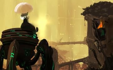 обоя аниме, оружие,  техника,  технологии, стол, пузыри, закат, класс, окна, водоросли, рыбки, под, водой, школьница