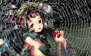 обоя аниме, животные,  существа, яблоко, лицо, капли, длинные, волосы, когти, девочка, руки, паутина, spider, girl, третий, глаз