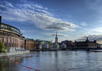 Картинка города стокгольм швеция река закат дома