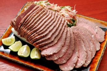 обоя еда, мясные блюда, мясо, буженина, лайм, нарезка