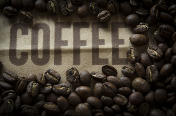 обоя еда, кофе,  кофейные зёрна, зерна, надпись