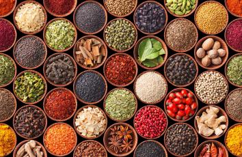 обоя еда, крупы,  зерно,  специи,  семечки, куркума, перец, кардамон, гвоздика, бадьян, разнообразие, специи, горчица