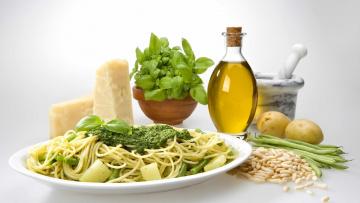 обоя еда, макаронные блюда, сыр, пармезан, паста, базилик, масло, фасоль