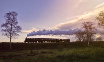 обоя техника, поезда, дым, природа, вагоны, поезд