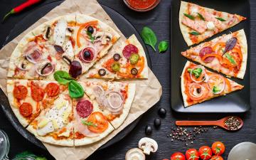 обоя еда, пицца, tomato, тесто, сыр, помидоры, pizza, соус, ассорти, ingredients, шампиньоны, овощи, специи, мясо, italian, выпечка